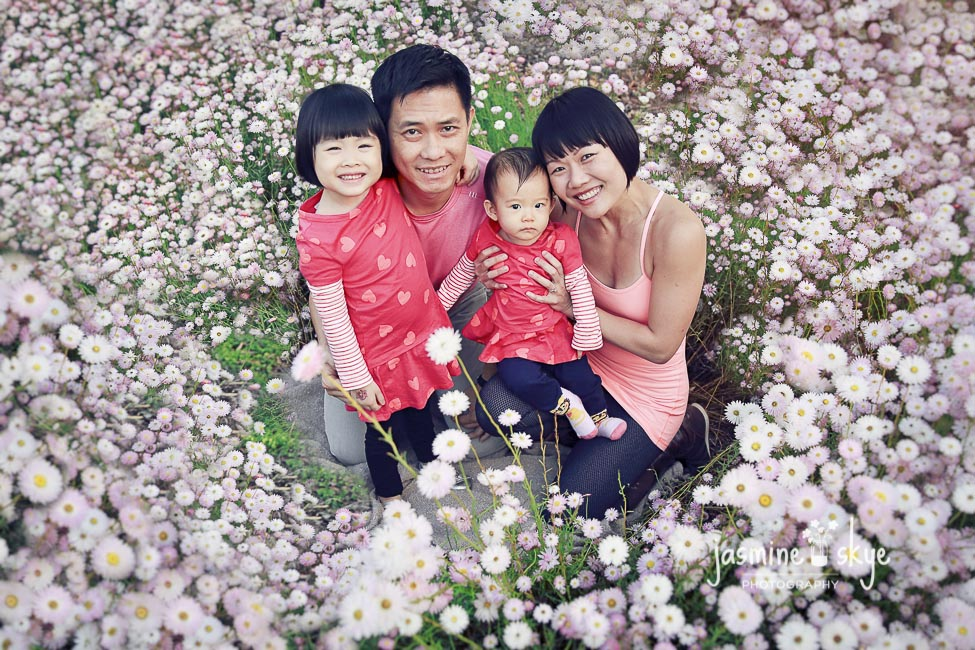 family portrait in flowers